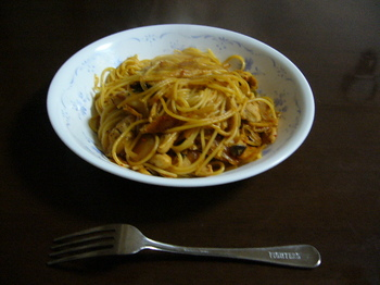 13.12.1晩飯ササミとキムチのパスタ.JPG